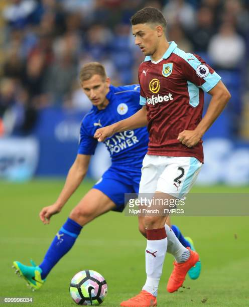 Burnley's Matthew Lowton in action against Leicester City's Marc Albrighton