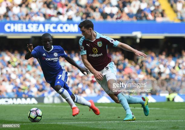 Burnley's Michael Keane and Chelsea's NGolo Kante