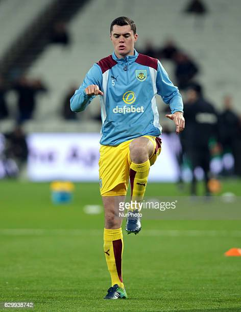 Burnley's Michael Keane during the prematch warmup during the Premier League match between West Ham United and Burnley at The London Stadium Queen...
