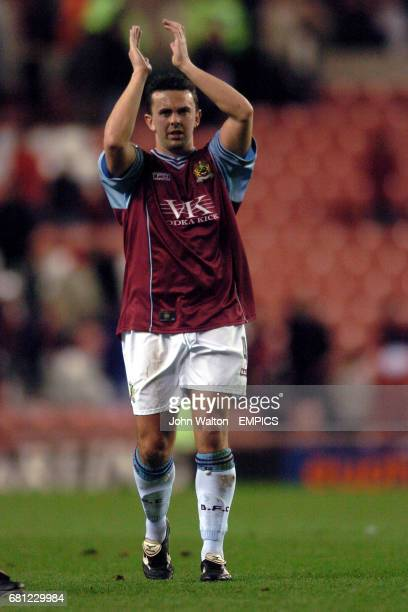 Burnley's Paul Weller thanks the travelling fans at the end of the game