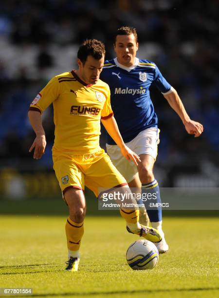 Burnley's Ross Wallace gets away from Cardiff City's Don Cowie