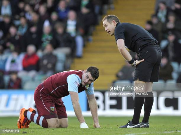 Burnley's Sam Vokes speaks with referee Stephen Martin