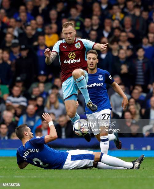 Burnley's Scott Arfield skips the tackle from Everton's Morgan Schneiderlin during the Premier League match at Goodison Park Liverpool