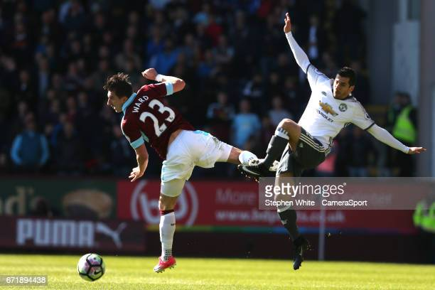 Burnley's Stephen Ward and Manchester United's Henrikh Mkhitaryan during the Premier League match between Burnley and Manchester United at Turf Moor...