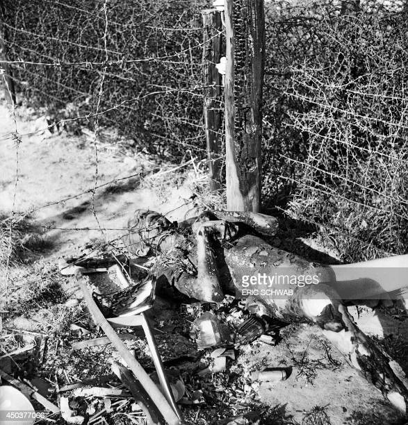 A burnt body lays on the ground in the Thekla camp outside Leipzig end of April 1945 On the 18th of April the workers of the Thekla plane factory...