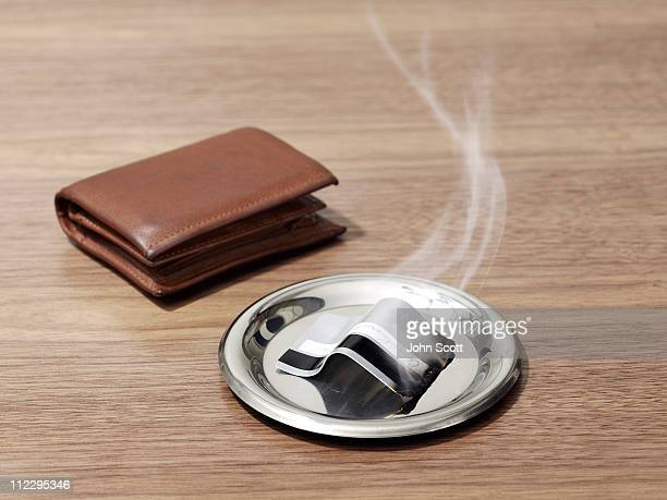 Burnt credit card and wallet