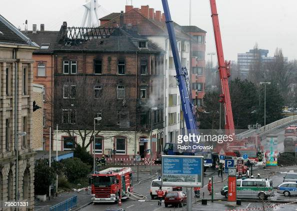 A burnt down house is pictured February 4 2008 in Ludwigshafen Germany Sunday evening the apartment building caught fire nine people died and around...