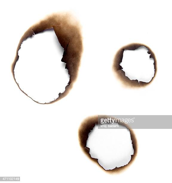 Burnt holes in a piece of paper