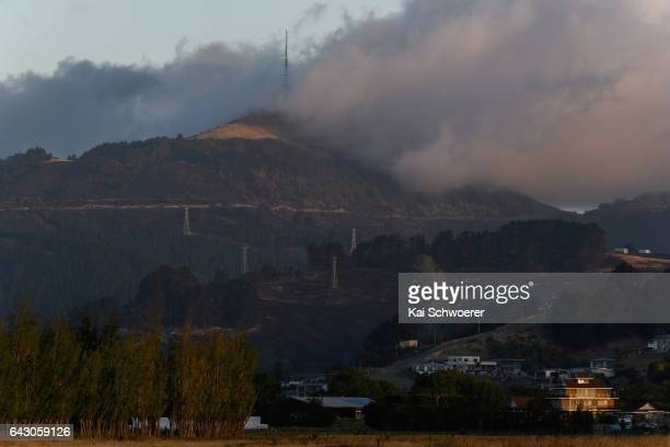 A burnt out forest is seen beneath Sugarloaf communications tower on February 20 2017 in Christchurch New Zealand Firefighters continue to work to...
