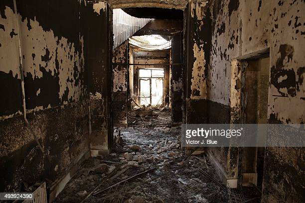 A burnt out hallway on October 14 in Kunduz Afghanistan aftermath of the US airstrike on the Medecins Sans Frontieres hospital in Kunduz that took...