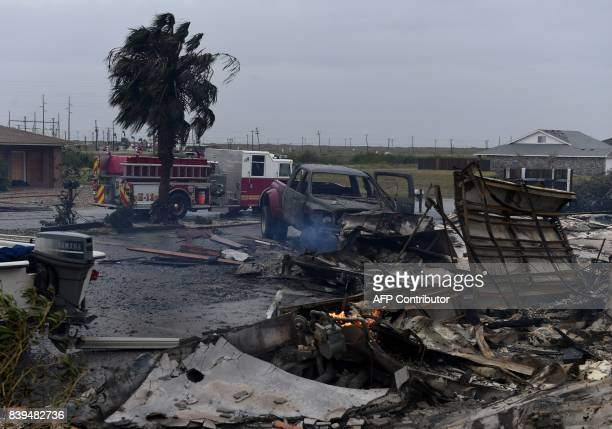 A burnt out house that caught fire after Hurricane Harvey hit Corpus Christi Texas is seen on August 26 2017 Hurricane Harvey hit the Texas coast...