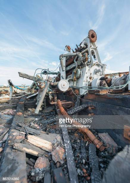 Burnt Remains of an Old Wooden Fishing Boat, Dungeness