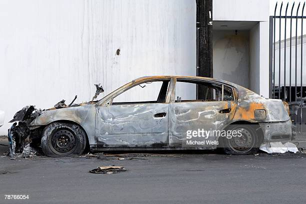 A burnt-out car