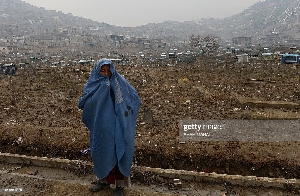 A burqa-clad Afghan woman walks at the Karti Sakhi cemetry in Kabul on February 14, 2013. Thousands of victims of the country's civil war which raged from 1992 to 1996 are buried in cemetries across the Afghan capital. AFP PHOTO/SHAH Marai