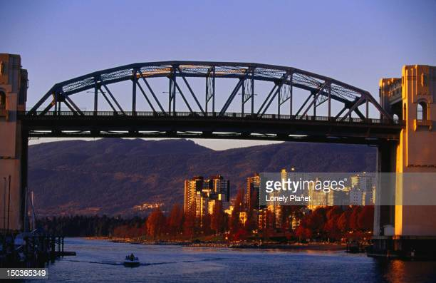 Burrard Street Bridge at sunset, Granville Island.