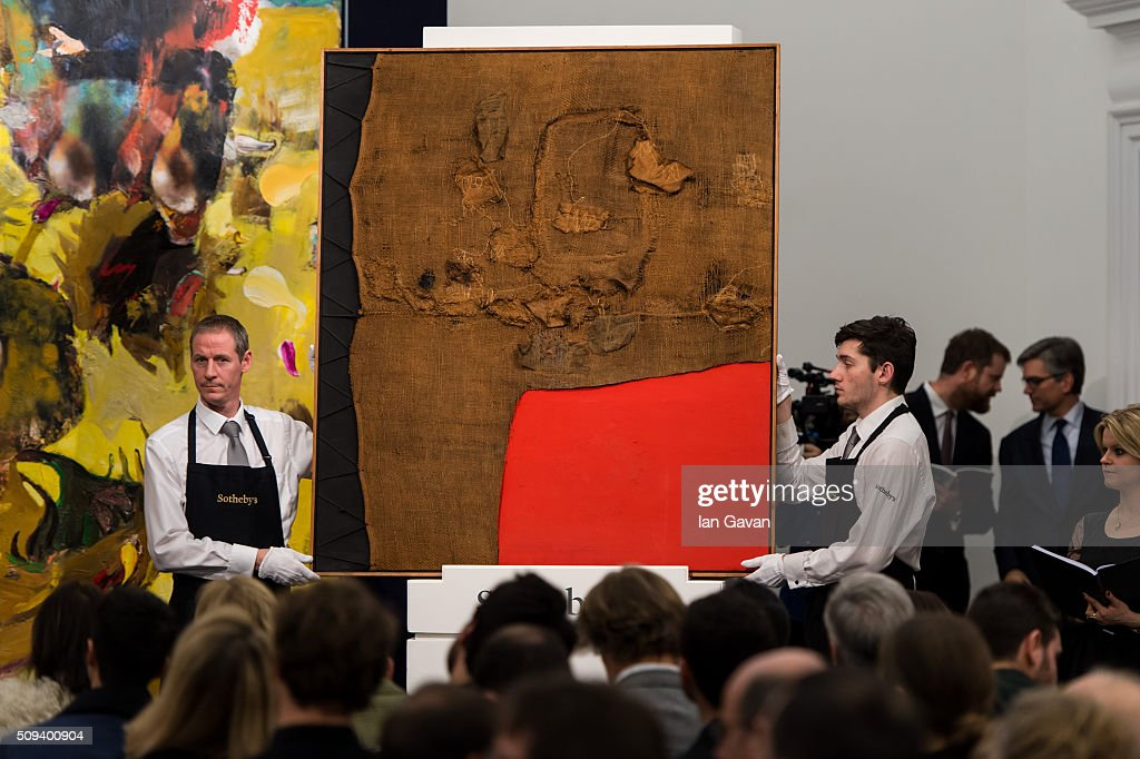 Burri's Sacco e Rosso is auctioned at the Contemporary Art Evening Sale at Sotheby's on February 10, 2016 in London, England. A record price was achieved for the Italian master Alberto Burri's masterpiece which was created in 1959 and sold for £9.1m.