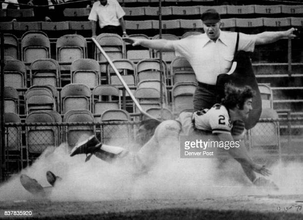 Burrowing Denver Bear Scores Against Iowa Rafael Batista uproots Oak catcher Bill Cotton to score off Fernando Tatis sacrifice fly in third inning of...