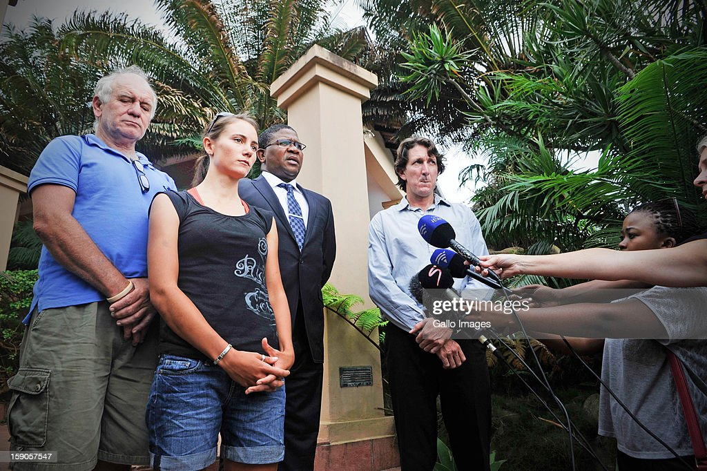 Burry Stander's wife, Cherise Stander, gives a statement to the media about Burry's death on January 6, 2013 in Balito, South Africa. Also speaking to the media was Burry's father, Charles Stander, and Sports Minister, Fikile Mbalula. Burry was hit by a taxi while out on a training ride, he suffered severe head trauma and a broken neck, he was killed on impact. The taxi driver has been charged with culpable homicide.