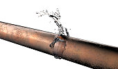 bursted copper pipe with water leaking out, 3d illustration