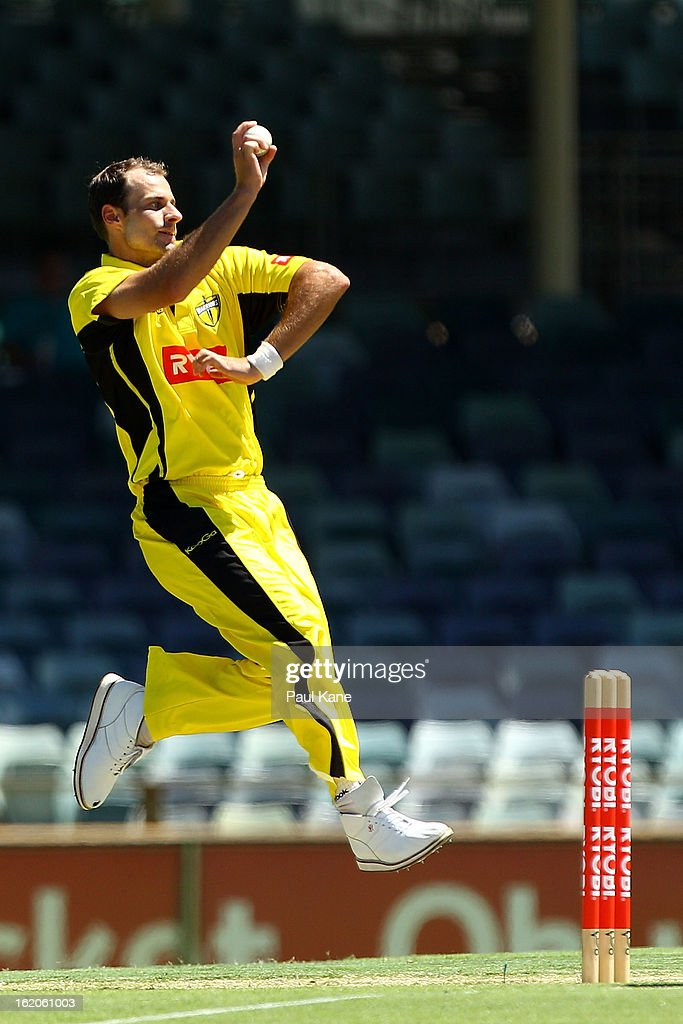 Burt Cockley of the Warriors bowls during the Ryobi One Day Cup match between the Western Australia Warriors and the Tasmanian Tigers at the WACA on February 19, 2013 in Perth, Australia.