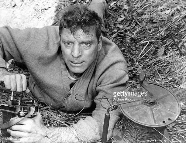 Burt Lancaster detonating bomb in a scene from the film 'The Train' 1964