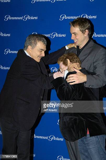 Burt Reynolds Dax Shepard and Seth Green during ShoWest 2004 Paramount Pictures Press Room at Bally's Paris Hotel in Las Vegas Nevada United States
