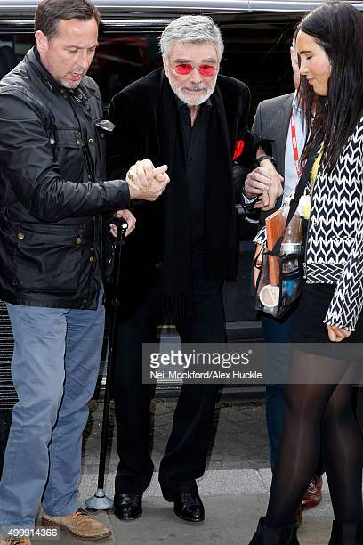 Burt Reynolds seen arriving at BBC Radio Broadcasting House on December 4 2015 in London England Photo by