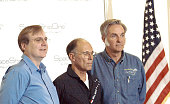Burt Rutan and Paul Allen announce that Michael W Melvill will pilot the first commercial space flight during the prelaunch press conference at the...