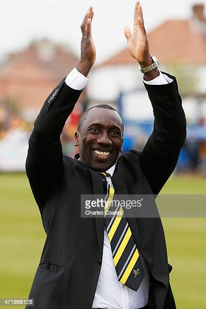 Burton Albion manager Jimmy Floyd Hasselbaink celebrates the League title after winning the Sky Bet League Two match between Cambridge United and...