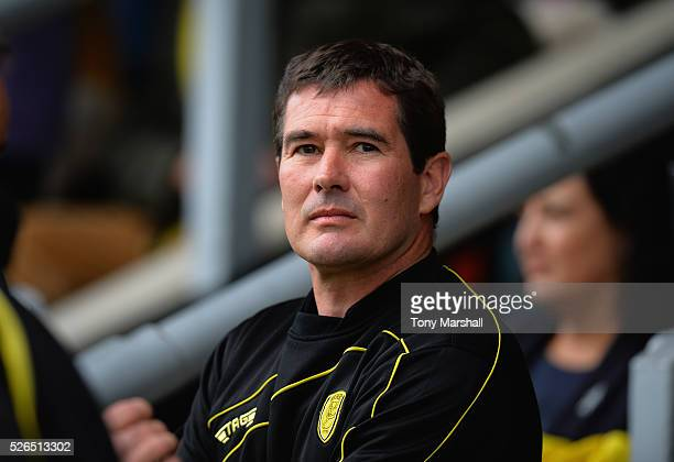 Burton Albion manager Nigel Clough looks on during the Sky Bet League One match between Burton Albion and Gillingham at Pirelli Stadium on April 30...