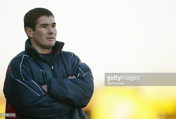 Burton Albion Manager Nigel Clough watches his team during the FA Cup second round match between Burton Albion and Hartlepool United at Eton Park on...