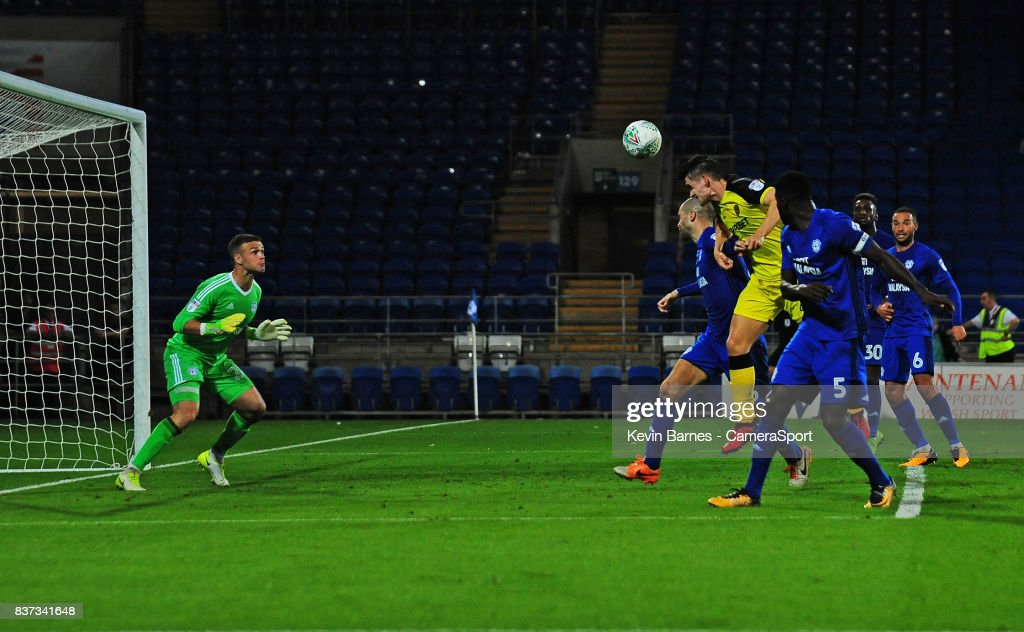 Burton Albion's Ben Fox scores his sides second goal during the Carabao Cup Second Round match between Cardiff City and Burton Albion at Cardiff City Stadium on August 22, 2017 in Cardiff, Wales.