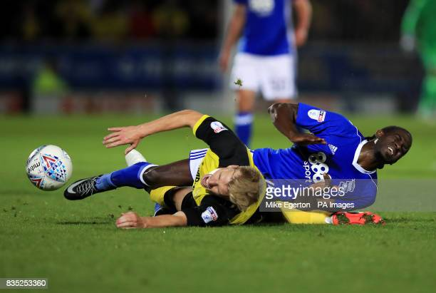 Burton Albion's Damien McCrory challenges Birmingham City's Clayton Donaldson during the Sky Bet Championship match at the Pirelli Stadium Burton