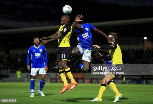 Burton Albion's Lloyd Dyer and Birmingham City's Clayton Donaldson battle for the ball during the Sky Bet Championship match at the Pirelli Stadium...
