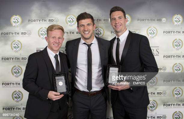 Burton Albion's Mark Duffy and Jon McLaughlin with their PFA League One Team of the Year Awards pose with teammate John Mousinho during the PFA...
