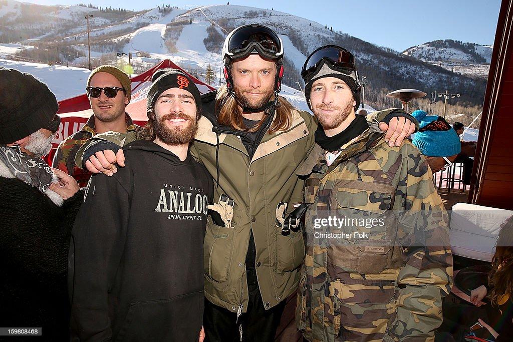 Burton Pro Rider Danny Davis, Maroon 5 band member James Valentinevand Burton Pro Rider Jack Mitrani attend Burton Learn To Ride - Day 2 on January 20, 2013 in Park City, Utah.