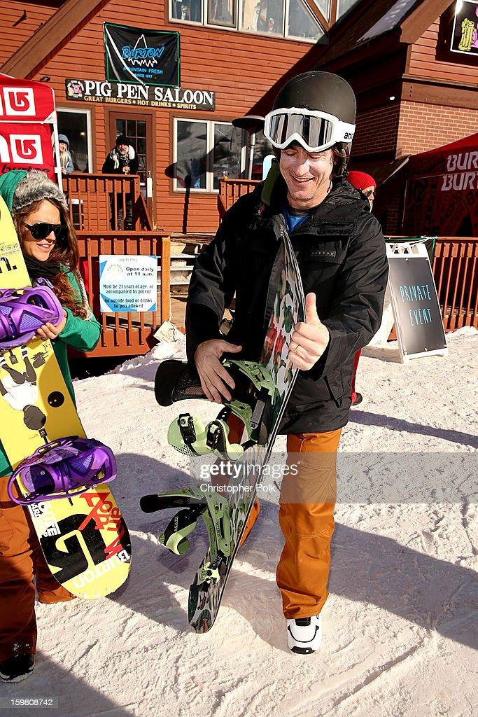 Burton Pro Rider Gabi Viteri and actor Dermot Mulroney attend Burton Learn To Ride - Day 2 on January 20, 2013 in Park City, Utah.