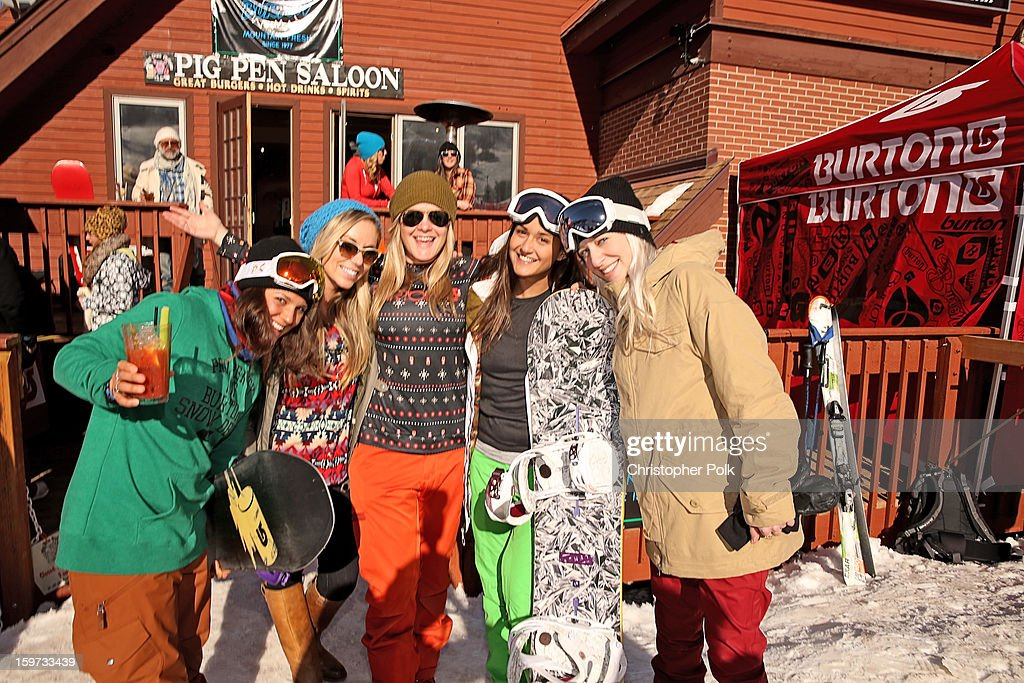 Burton Pro Rider Gabi Viteri, Makenzie Halen, Melody Pfeiffer, Farryn Weiner and Lauren Offenberg attend Burton Learn To Ride on January 19, 2013 in Park City, Utah.