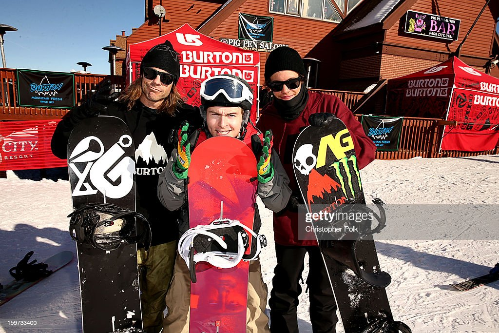 Burton Pro Rider Zak Hale, actor <a gi-track='captionPersonalityLinkClicked' href=/galleries/search?phrase=Callan+McAuliffe&family=editorial&specificpeople=6694662 ng-click='$event.stopPropagation()'>Callan McAuliffe</a> and Burton Pro Rider Jeremy Jones attend Burton Learn To Ride on January 19, 2013 in Park City, Utah.