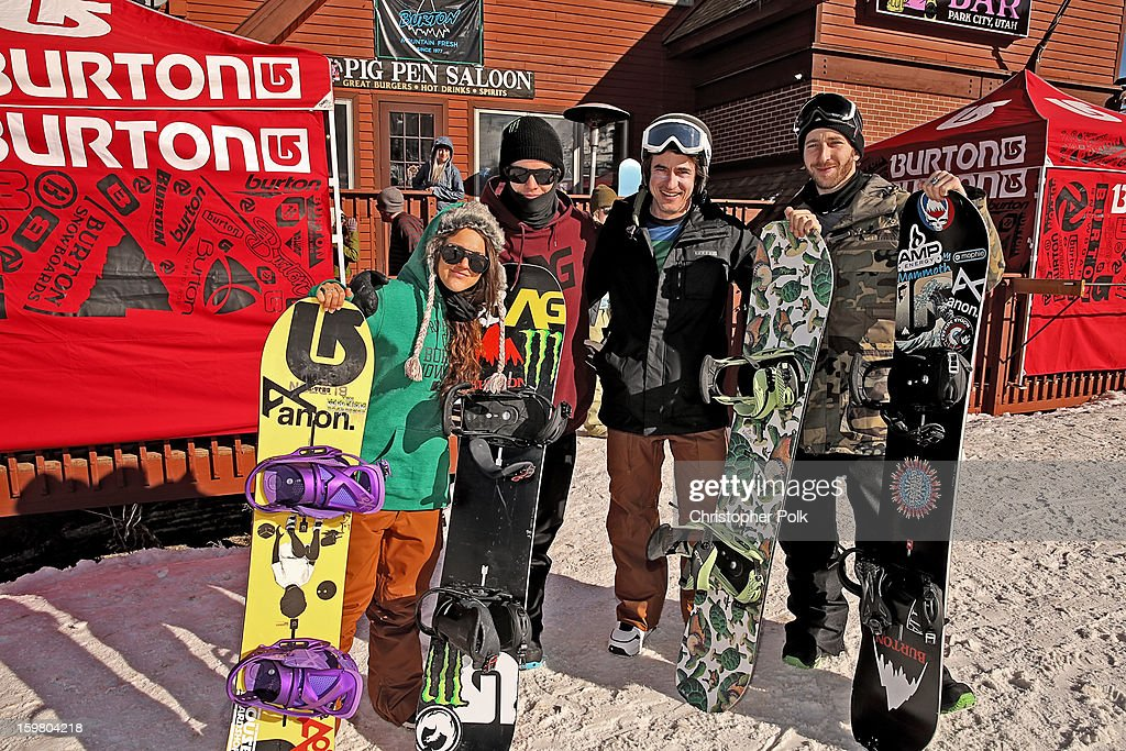 Burton Pro Riders Gabi Viteri, Zak Hale, actor Dermot Mulroney and Burton Pro Rider Jack Mitrani attend Burton Learn To Ride - Day 2 on January 20, 2013 in Park City, Utah.