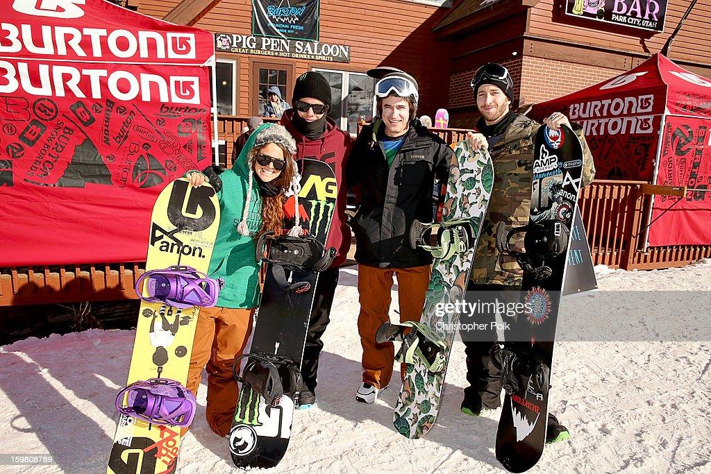 Burton Pro Riders Gabi Viteri, Zak Hale, actor Dermot Mulroney and Burton Pro Rider Jack Mitrani attend Burton Learn To Ride - Day 2 on January 20, 2013 in Park City, Utah.