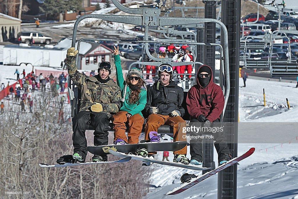 Burton Pro Riders Jack Mitrani, Gabi Viteri, actor Dermot Mulroney and Burton Pro Rider Zak Hale attend Burton Learn To Ride - Day 2 on January 20, 2013 in Park City, Utah.