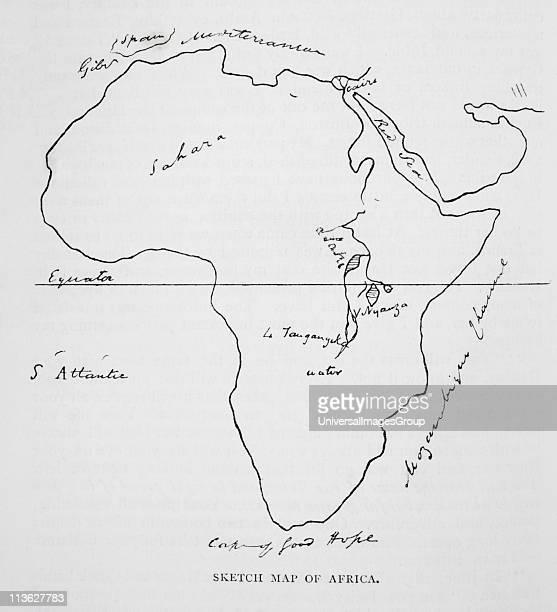 Burtons sketch map of Africa Sir Richard Francis Burton 18211890 British explorer translator writer soldier orientalist ethnologist linguist poet...