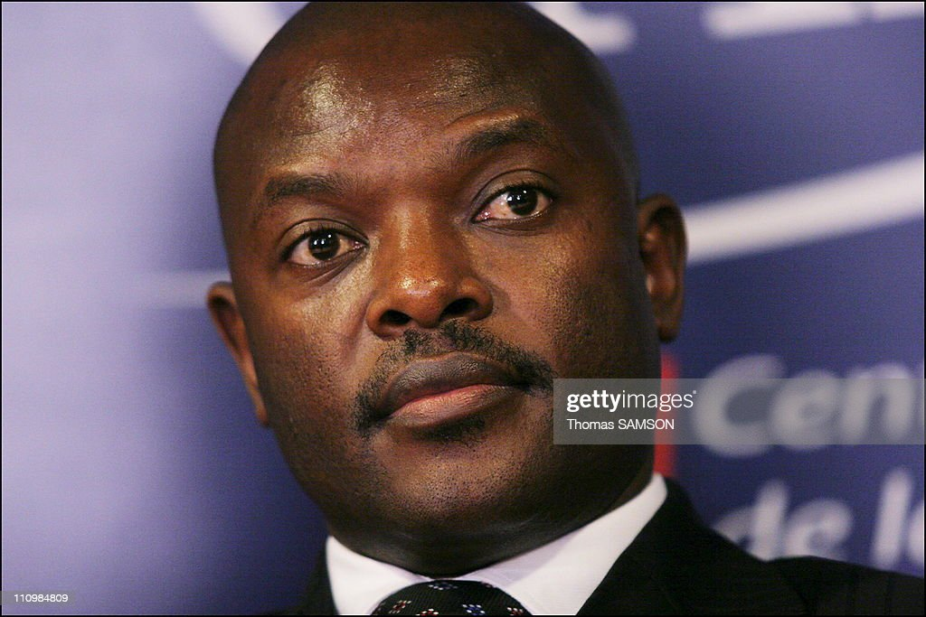 Burundi President <a gi-track='captionPersonalityLinkClicked' href=/galleries/search?phrase=Pierre+Nkurunziza&family=editorial&specificpeople=563215 ng-click='$event.stopPropagation()'>Pierre Nkurunziza</a>, at a press conference at the CAPE(Centre d'accueil de la Presse etrangere - Visitor Centre Foreign Press) in Paris, France on November 09th, 2006.