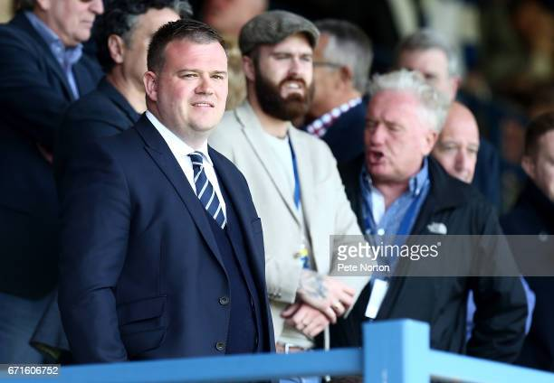 Bury chairman Stewart Day looks on prior to the Sky Bet League One match between Bury and Northampton Town at Gigg Lane on April 22 2017 in Bury...