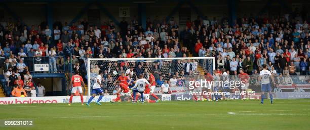 Bury FC's Leon Clarke scores his side's first goal