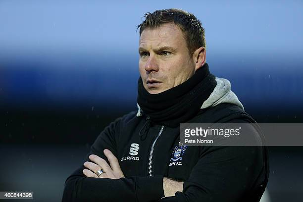 Bury manager David Flicroft looks on during the Sky Bet League Two match between Northampton Town and Bury at Sixfields Stadium on December 26 2014...