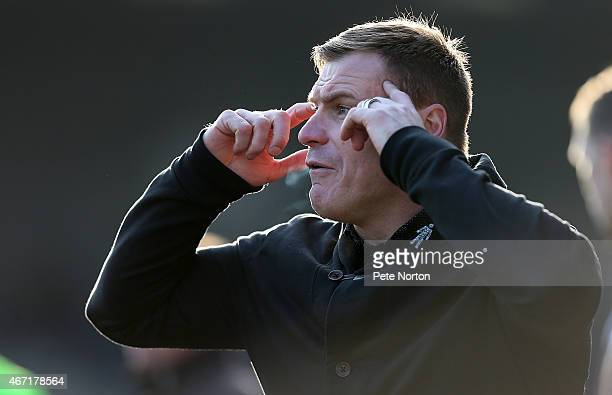 Bury Manager David Flitcroft looks on during the Sky Bet League Two match between Bury and Northampton Town at The JD Stadium on March 21 2015 in...