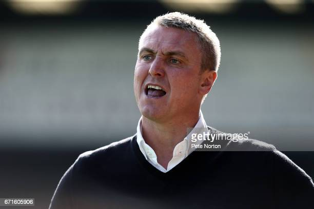 Bury manager Lee Clark looks on during the Sky Bet League One match between Bury and Northampton Town at Gigg Lane on April 22 2017 in Bury England