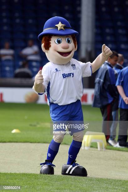 Bury mascot Robbie the Bobbie entertains the crowd prior to the npower League Two match between Bury and Northampton Town held at Gigg Lane on August...